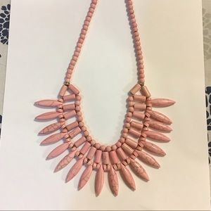 Pink Turquoise Statement Necklace 21""